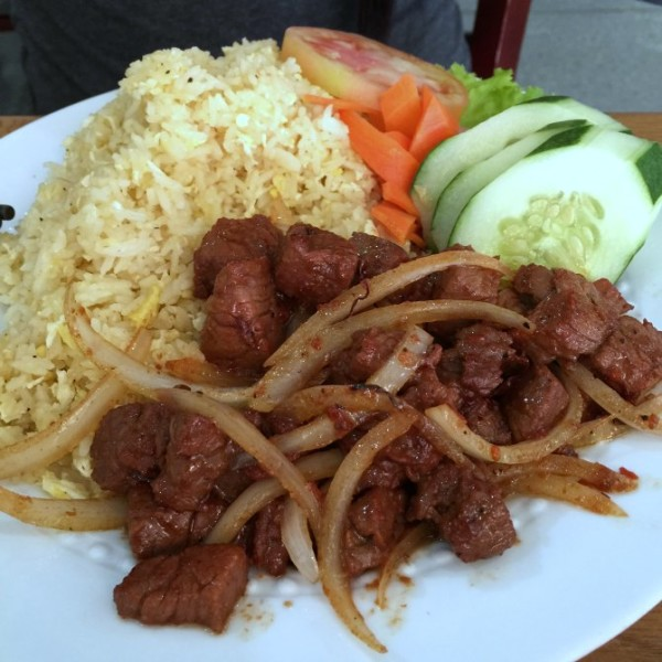 Marinated Beef Chunks with Fried Rice