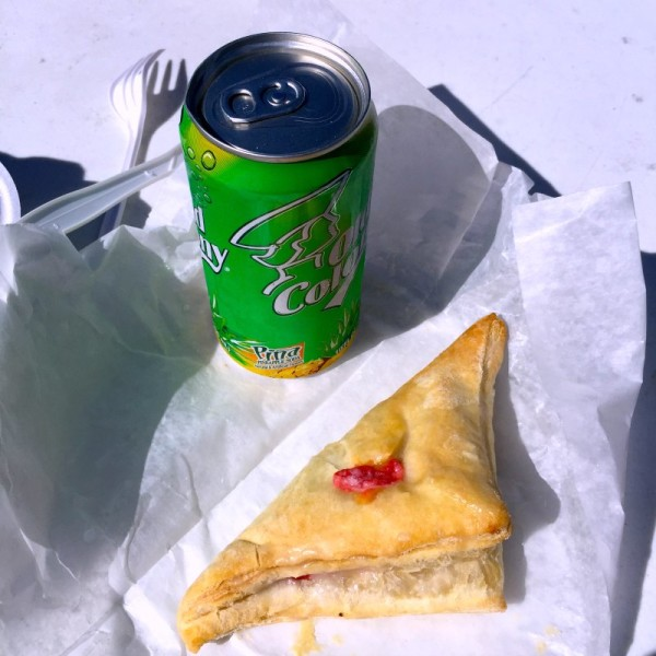 Pineapple soda with guava & cheese turnover.