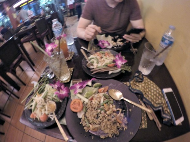Chowing down on the yummy Thai food.